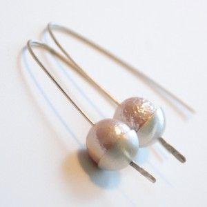 Synthetic pearl and sterling silver ear rings by Rikke Kjelgaard