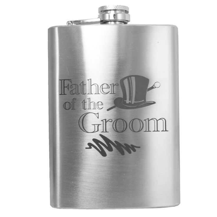 "8Oz ""Father Of The Groom"" Hip Flask Wedding Gift L1"