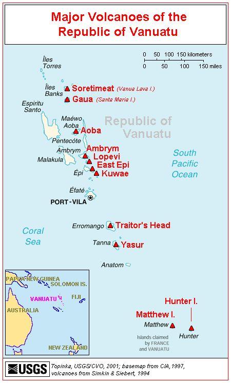 Map of Major Volcanoes of the Republic of Vanuatu