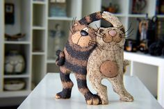Handmade Pottery Funny Cats Cat Sculpture Art Cats by GappaPottery