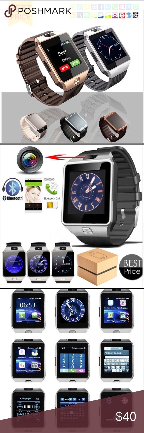 New SmartWatch Men Women Bluetooth camera iOS Andr Color= White= Silver Faceplate + White Writst Band  What is included in the package? Watch * 1    Screen Protector * 1  USB Cable * 1    User Manual * 1    Retail Box * 1   Function:Answer Call,Calendar,Dial Call,Alarm Clock,Speed Measurement,Passometer,Message Reminder,Sleep Tracker,Call Reminder APP Download Available:Yes Language:French,Italian,Russian,Norwegian,Spanish,Polish,Portuguese,Turkish,English,German Band Material:Silica Gel…