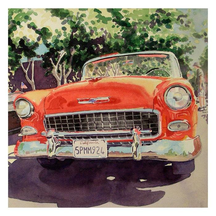 1. Antique Classic Car Art / Watercolor PRINT / Red