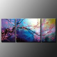 100% Hand painted, tree landscape Wall home Decor Oil Painting on canvas 3pcs/set mixorde Framed