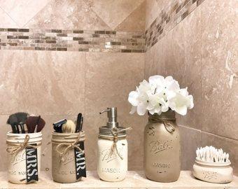 Set bagno rustico barattolo di vetro vaso di muratore con