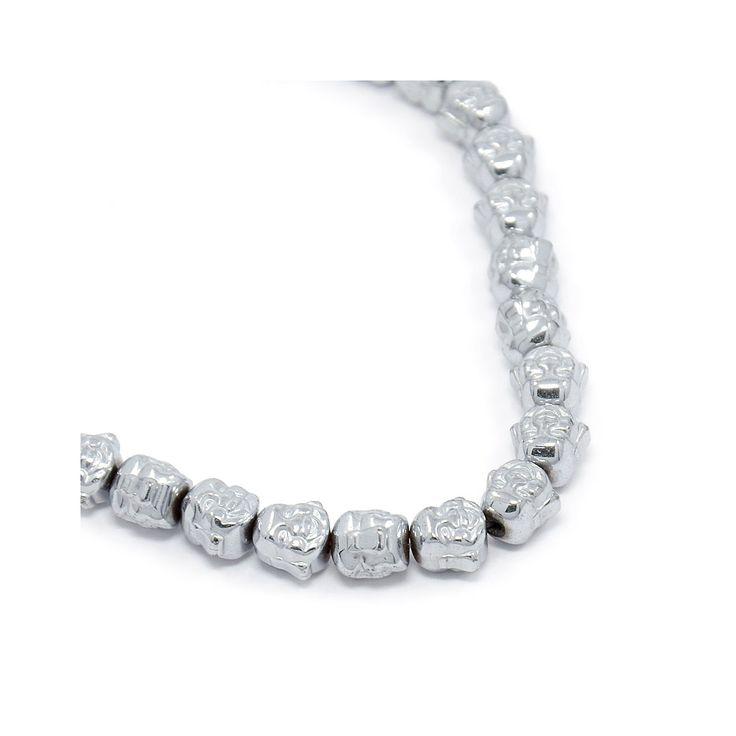 Perle en Hematite Tête de Bouddha 8x8x7 mm Labrador x1 - Perles & Co