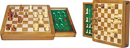 Zap Impex  wood magnetic travel chess game box and tray 7 inches *** You can get more details by clicking on the image.