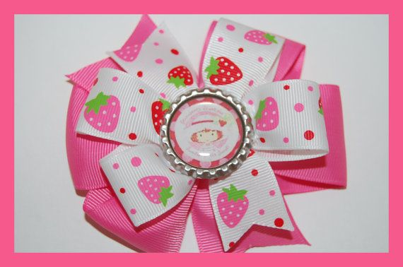 STRAWBERRY SHORTCAKE TOO Hair Bow w/Bottle Cap Attached to Alligator Clip.. Made with Grosgrain Ribbon.. on Etsy, $5.99