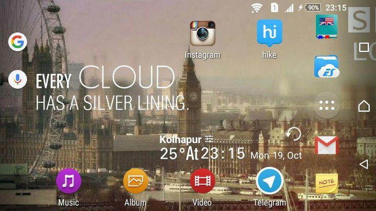 Xperia™ Lollipop 5.1.1 UI Homescreen: BBC Sherlock Wallpaper along Amber Weather Poetry Widget.