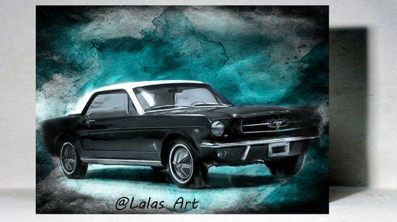 Vintage Retro Style Old-timer 1965 Black Ford by LalasArtWorld