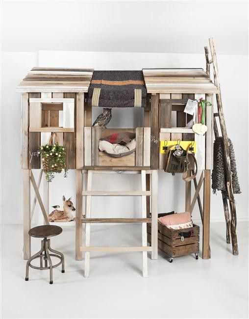 Old Look Treehouse from Kidsfactory.  Treehouse bed? How cool would that be?! You could make it a loft with dressers underneath.