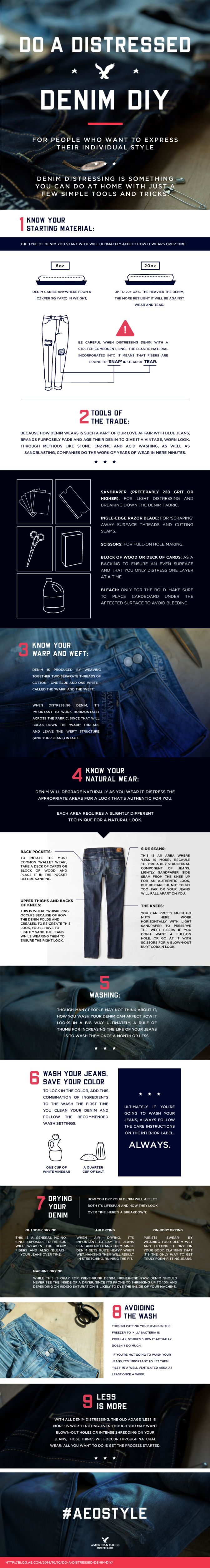 Do A Distressed Denim DIY - Jean Hacks Infographic
