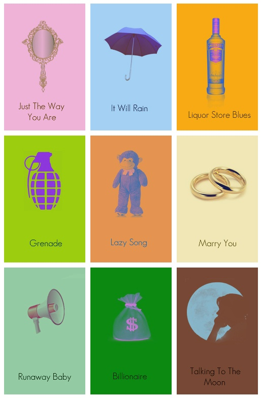 These little art pieces of Bruno Mars song names would be so cute framed.