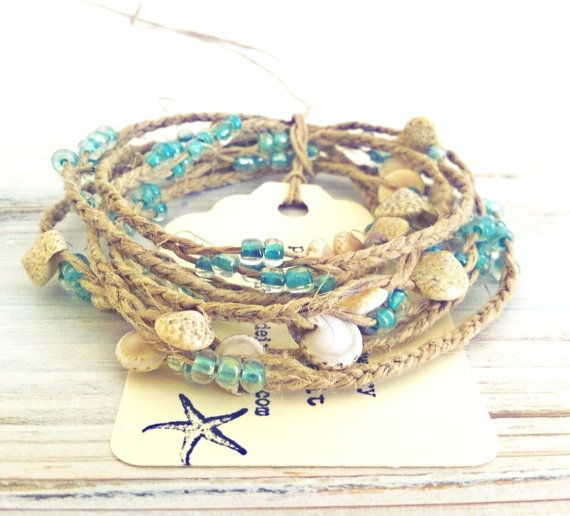 Natural Sea Shells & Aqua Bead Extra Long Hemp by psihandmadeit, $26.50