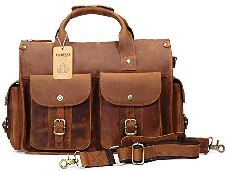 3719b4d2e43c EverVanz Tote Handmade Vintage Leather Briefcase without Flap for 15 Inch Laptop  Bag Shoulder Messenger Bag Review