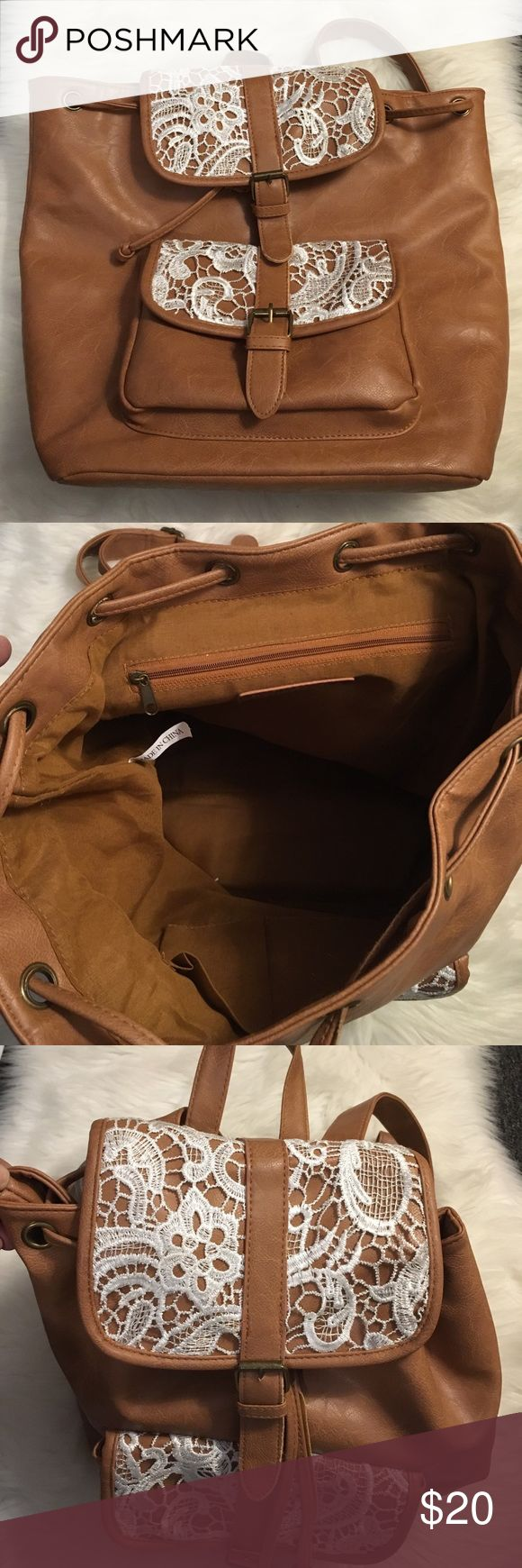 NWOT Rampage Camel Backpack NWOT Faux Leather Rampage Bags Backpacks