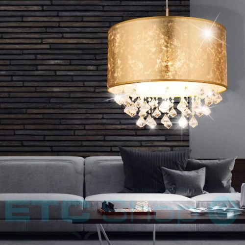 Details Zu Pendel Lampe Hange Leuchte Schlafzimmer Textil Kristall Behang Decken Strahler