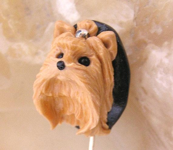 Yorkie  Yorkshire Terrier Polymer Clay Dog Stickpin  by nanjodogz, $35.00
