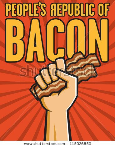 Vector Illustration of a fist holding bacon in the style of Russian Constructivist propaganda posters. by memphisslim, via Shutterstock