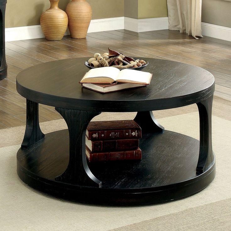 Furniture of America Nela Contemporary Antique Round Coffee Table