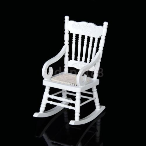 Dollhouse-Miniature-Furniture-Classic-White-Wooden-Rocking-Chair-1-12-Scale