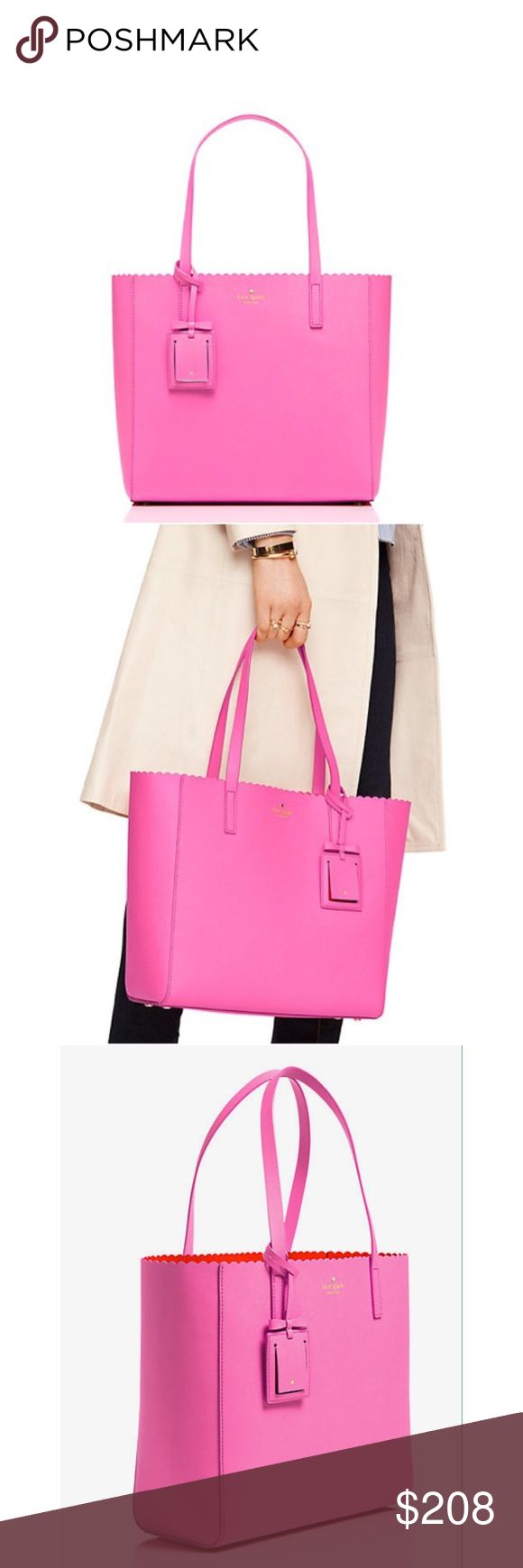 """Kate Spade Tote Bag Kate Spade Cape Drive Hallie Scalloped Saffiano Leather Tote  the handbag: it's your constant companion, your security blanket, your way-more-than-an-accessory accessory  Color: Bright Papaya / Pink Blush  Used only a few times!  💖 100% Authentic  SIZE •11.7"""" h x 12.5"""" w x 5.5"""" d •drop length: 9""""  MATERIAL •double face crosshatched leather with matching trim •14 karat gold plated hardware  DETAILS •over the shoulder bag with open top •kate spade new york gold embossed…"""