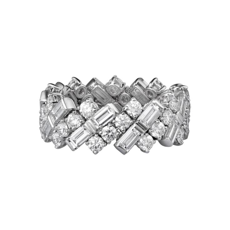(one of my favorite Cartier Ring)  Cartier Wedding band, White Gold Diamonds Ref:  N4249952 18K white gold band set with baguette-cut and brilliant-cut diamonds.