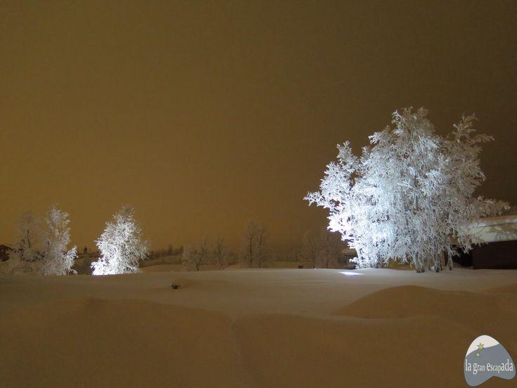 Paisaje nocturno en Kiruna. Suecia