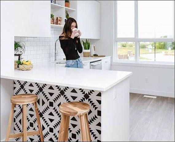 Zig Zag Wallpaper In Black Removable Vinyl Wallpaper Peel Etsy Kitchen Wallpaper Vinyl Wallpaper Kitchens Bathrooms
