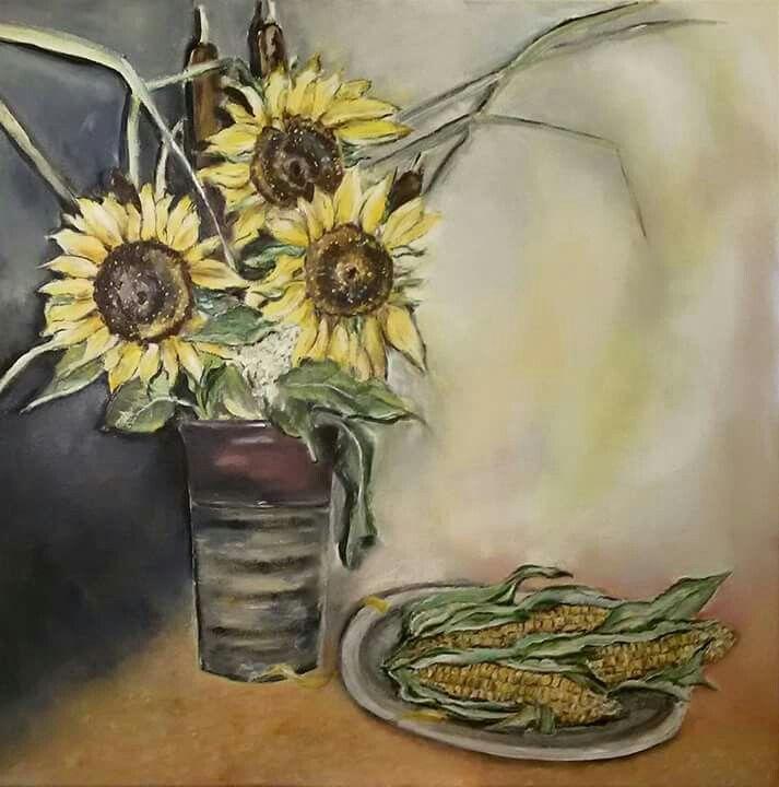Slunečnice, olej na plátně 60x60 cm.