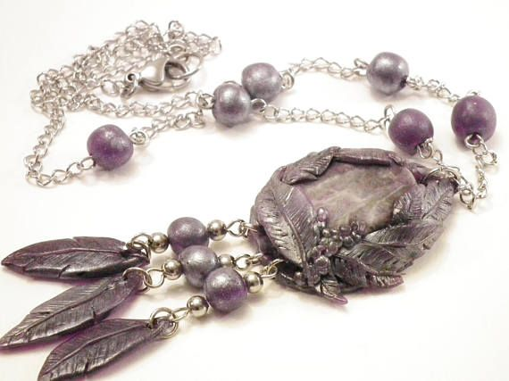 Amethyst and purple feathers talisman bohemian necklace