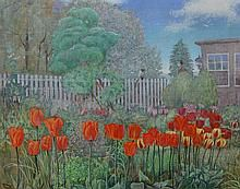 Joan Kerry (American, 1929-1996), tempera on masonite, Tulips and White Picket Fence