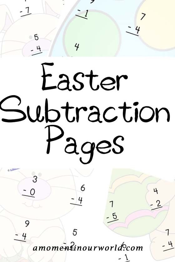 A great way to practice simple subtractions are these Easter Subtraction Pages. This Easter themed subtraction pack includes 5 pages with 12 sums per page. To grab your {FREE} copy, click on the link below: Easter Subtraction Pages