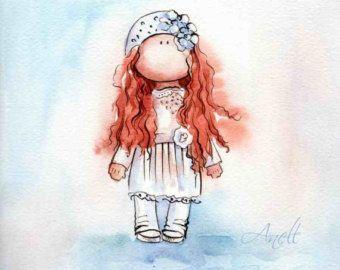 Niña de pelo castaño en el vestido lavanda por AnellHappyWatercolor