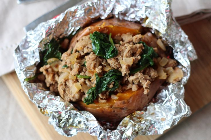 **Turkey and Spinach Stuffed Sweet Potatoes