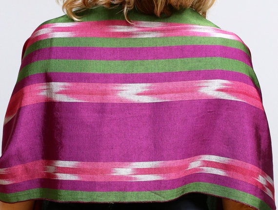 Silk and cotton Handwoven scarf Green and pink by ShawlsandtheCity, $60.00