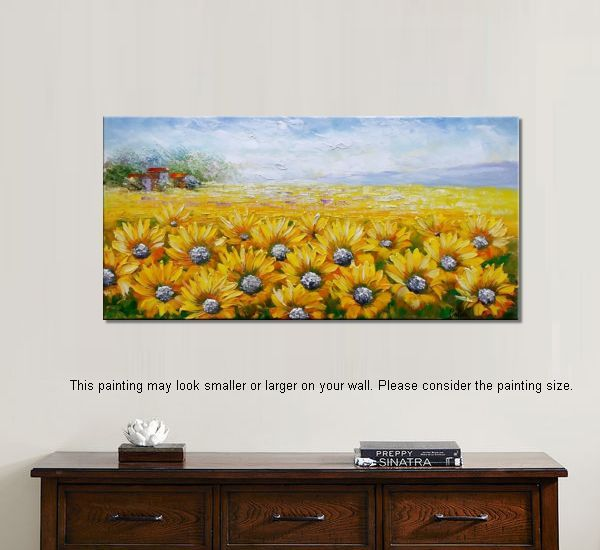 Large Wall Art Heavy Texture Canvas Painting Landscape Sunflower
