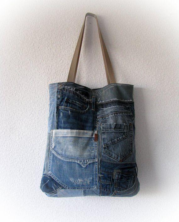 Recycled denim tote bag 0f4cc21992187