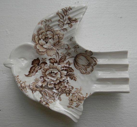 Rare Clarice Cliff Brown Transferware Bird by Nancy's Daily Dish
