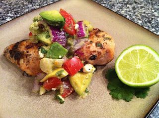 Chili lime rubbed chicken with avocado feta salsa