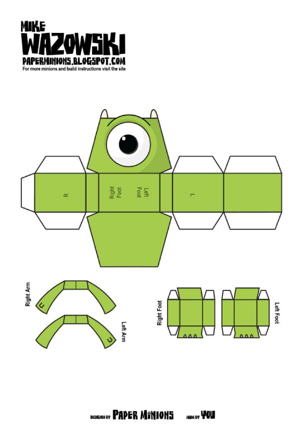 Blog Paper Toy papertoys Sully Mike Paper Minions Mike template preview