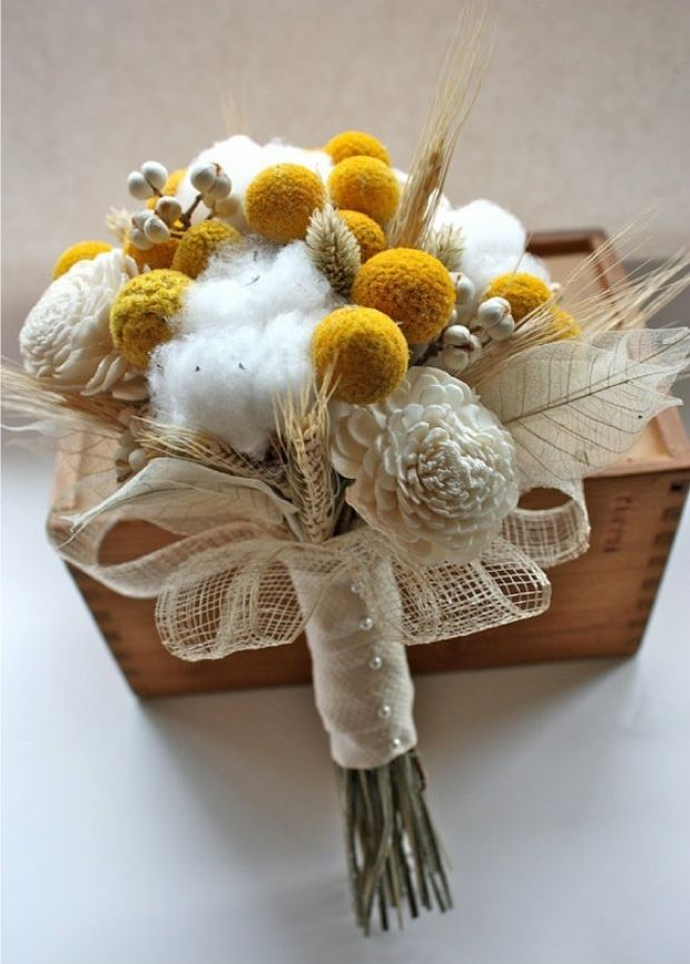 Another beautiful cotton wedding bouquet. See more inspiration at diyweddingsmag.com