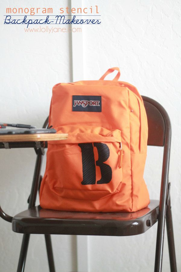 Back to School:: monogram stencil backpack makeover