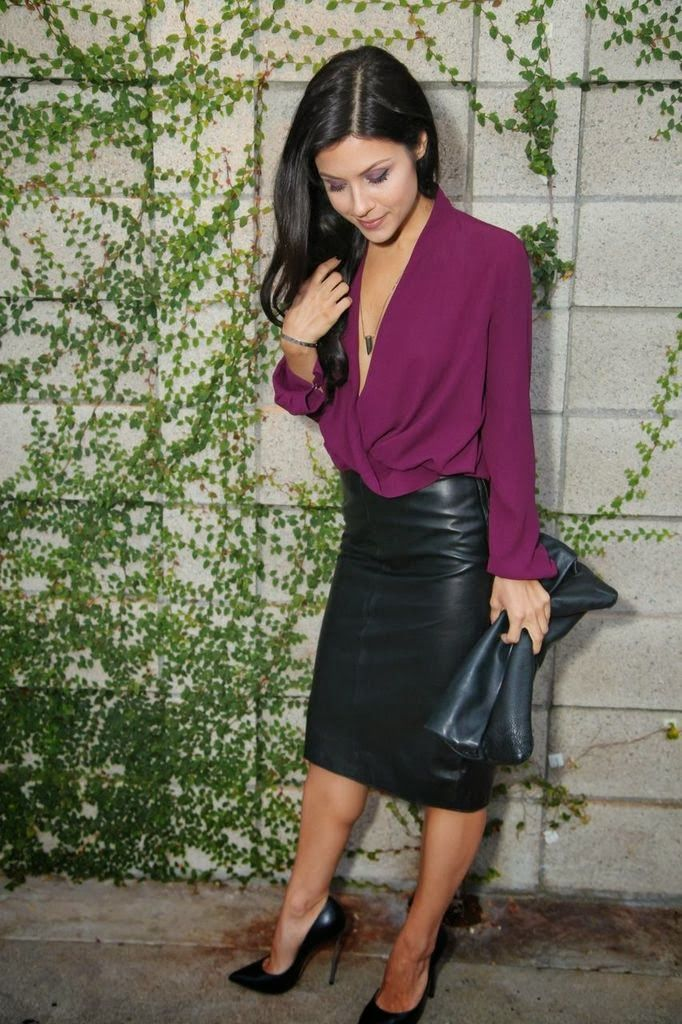Long Leather Skirt Outfit