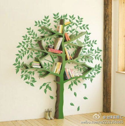 play room: green tree bookshelf with painted leaves