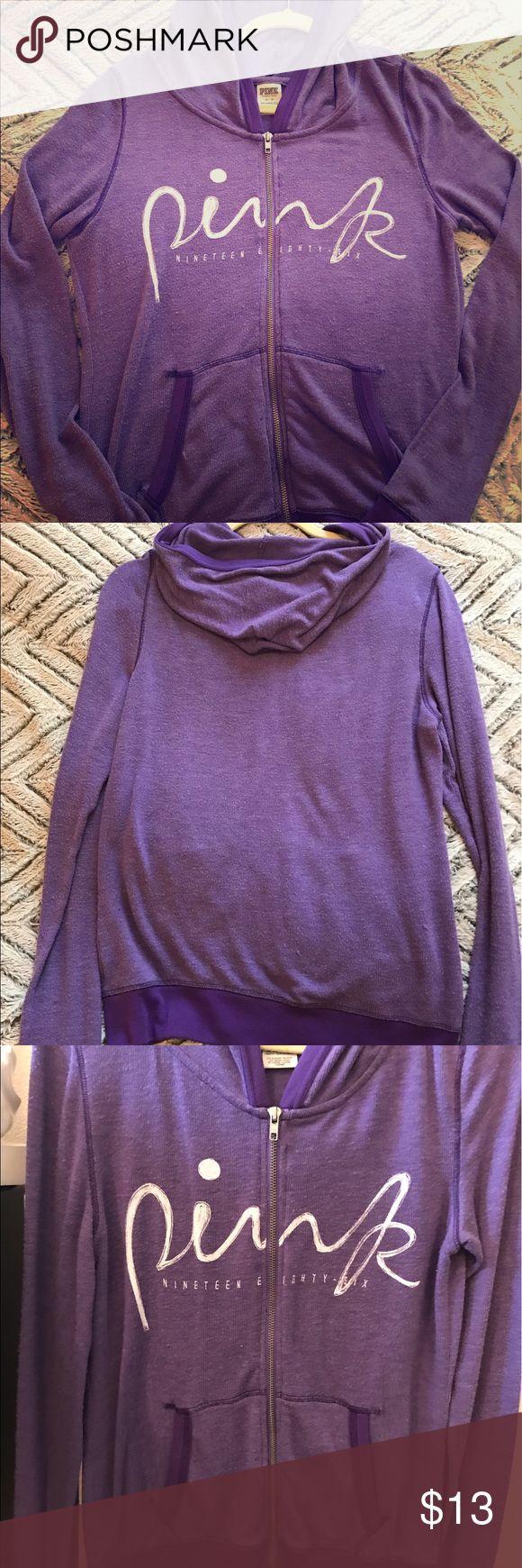 Used - Victoria Secret Pink zip-up thin hoodie Purple VS Pink zip up, thin hoodie. 61% polyester, 35% viscose 4% elastane. Size medium PINK Victoria's Secret Sweaters