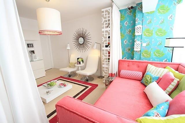 Designer's Guild anichov wallpaper, Pink, Turquoise, Green