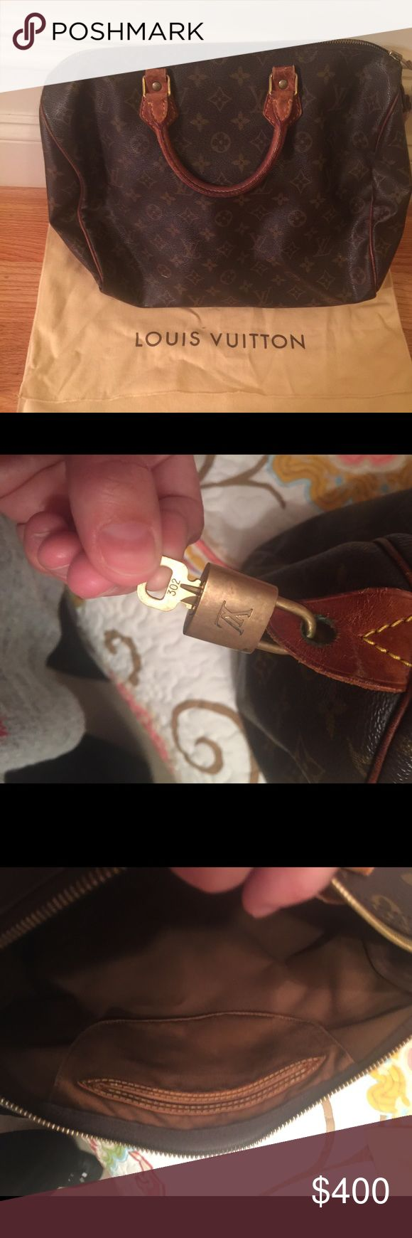 Authentic Louis Vuitton Speedy 40 This vintage bag is in good condition! It has some wear on the handles from carrying but no scratches. Inside is clean, except for a pen mark. Comes with original lock and key! Louis Vuitton Bags