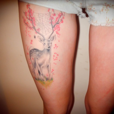 Deer thigh tattoo: Tattoo Ideas, Deer Tattoo, Tattoos, Body Art, Tattoo Design