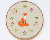 Fox Cross Stitch Pattern, Modern Sevimli Hayvan Sayılan Kolay Dikiş Grafik, PDF Formatı, Anında İndir