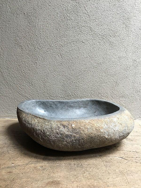 Hardstenen wasbak wastafel trog kei steen stenen ruwe gootsteen | - Meubels & decoratie | 't Jagershuis